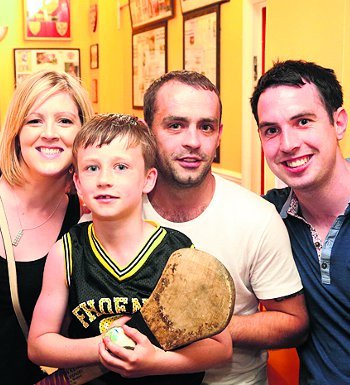 Watching the game at Tir Chonaill Gaels' clubhouse in Greenford were from left: Ciara Gill, Caolan McMenamin, Kevin (Wappa) McMenamin and Ronan Madine