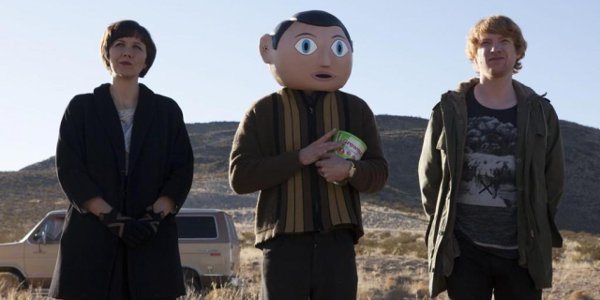 Maggie Gyllenhaal, Michael Fassbender and Domhnall Gleeson in 'Frank'.