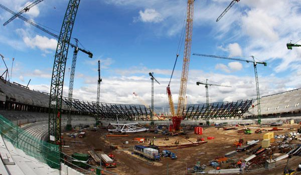 Construction work at the Olympic Stadium