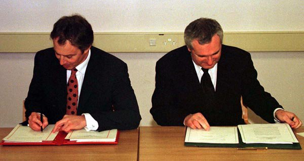 Tony Blair signing the