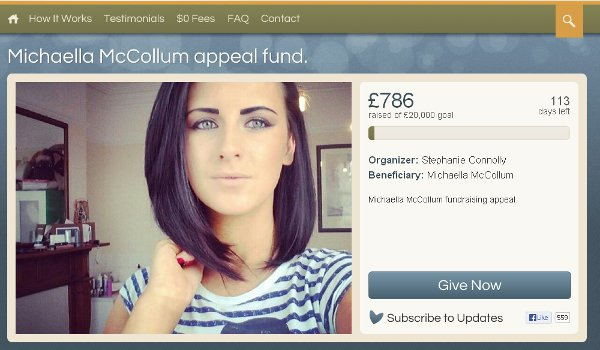 The fundraising page set up for Michaella McCollum Connolly