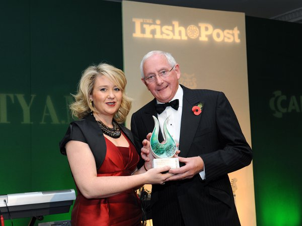Karen Hennessy with Laing O'Rourke Executive Chairman Ray O'Rourke, who took the Outstanding Contribution to Business Award