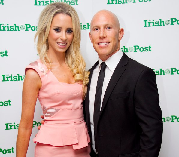 Former Irish rugby star Peter Stringer and Debbie O'Leary