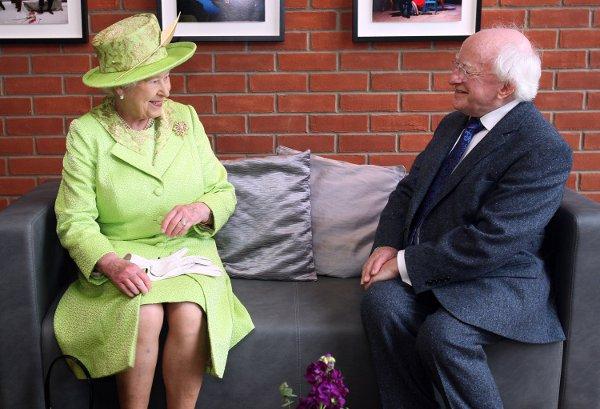 Queen Elizabeth II met President Michael D. Higgins during a visit to the Lyric Theatre in Belfast on June 27, 2012