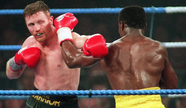 Steve Collins and Chris Eubank exchange punches at a fight in Millstreet, County Cork in 1995.
