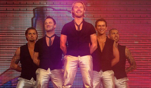 Boyzone perform on stage at the 02 Arena in 2008 with Stephen Gately before his death