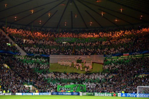 Celtic fans unfurl a banner in Amsterdam ahead of the match with Ajax