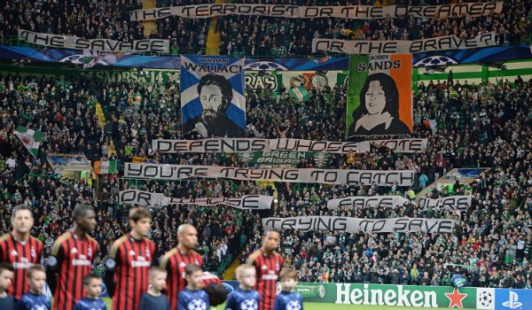 The Green Brigade's display before the Champions League game with Milan at Celtic Park