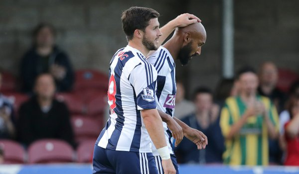 Shane Long with West Brom teammate