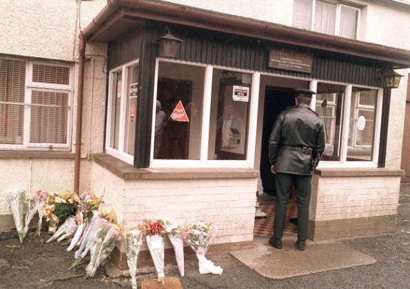 An RUC officer at the scene of the Loughinisland Massacre in 1994
