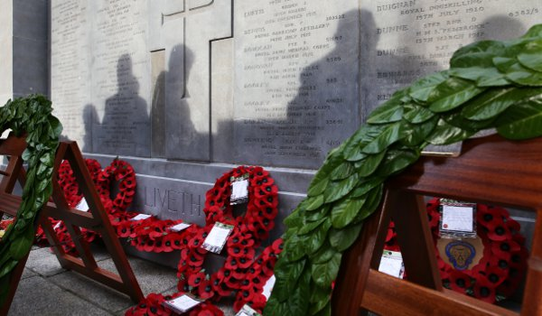 Wreaths lie on the memorial at the launch of an exhibition entitled Third Home Rule - The Unionist Response in November 2013
