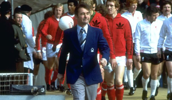 Nottingham Forest Manager Brian Clough leads out his team before the League Cup final against Liverpool at Wembley in 1978