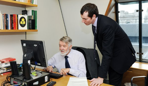 MP Paul Flynn in his office with The Irish Post's James Martin