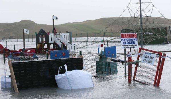 The playground at the promenade was closed after it was battered by high waves.