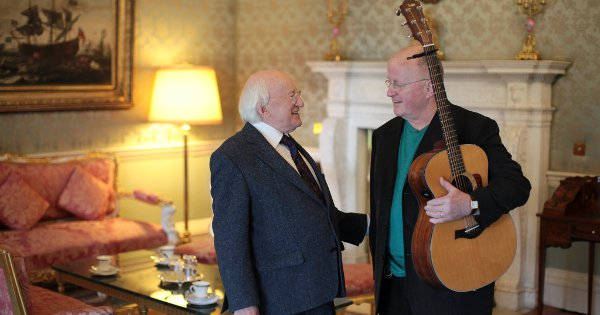 President Higgins and Christy Moore in Áras an Uachtaráin at the filming of King's programme Glaoch – The President's Call.