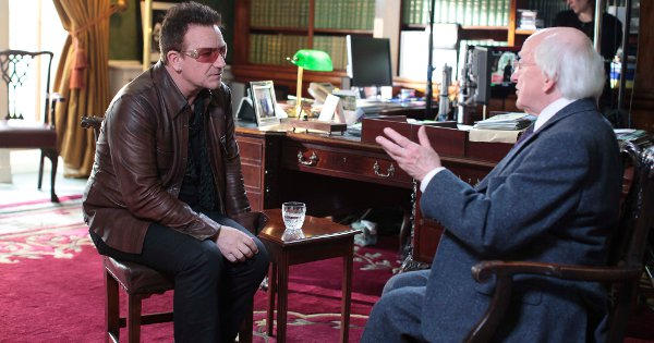Bono and President Higgins at Áras an Uachtaráin for the filming of Glaoch – The President's Call
