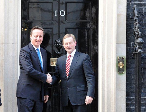 Enda Kenny and David Cameron today at 10 Downing Street