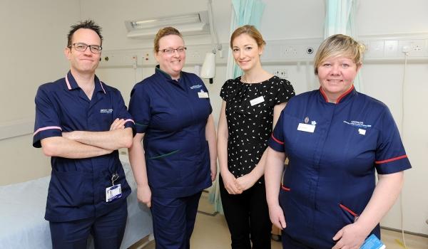 Eamon Sullivan, Helen O'Toole, Elizabeth McBrinn and Josie Gladney at University College Hospital in London