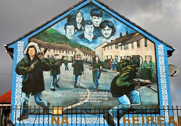 A catholic republican mural in the Ballymurphy estate in Belfast