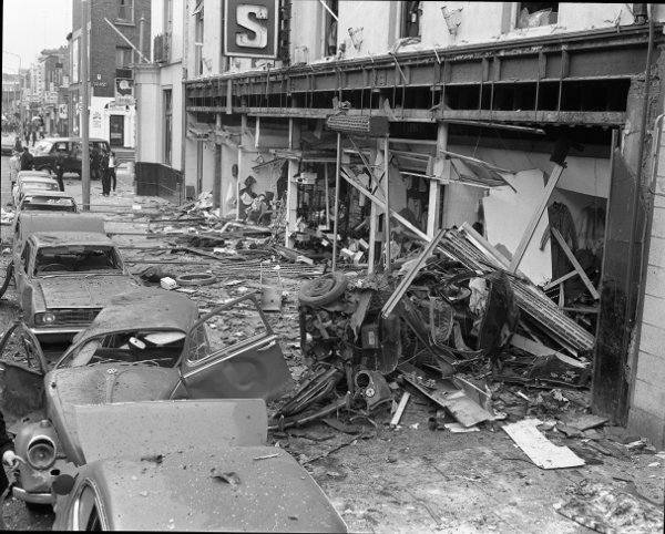 Image shows the damage caused at Guineys on Talbot Street which seemed to be the centre of the blast (Irish Photo Archive)