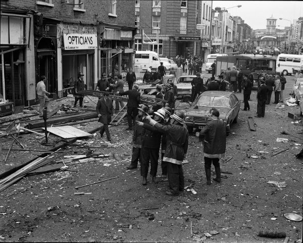 Rescue services and the gardai examine the scene of the blast at Talbot Street (Irish photo Archive)