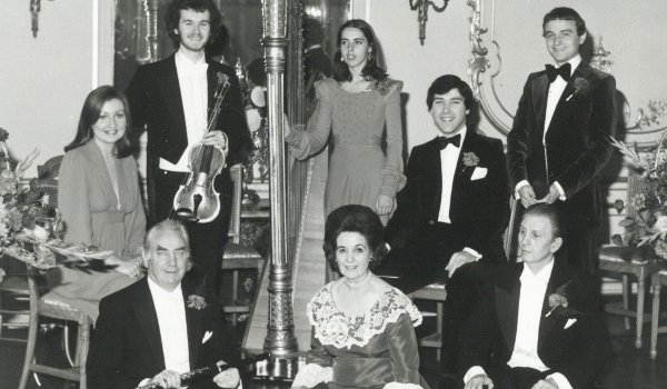 Eithne Kennedy (seated centre) and husband Charles (to her left) at the Irish Embassy in October 1976
