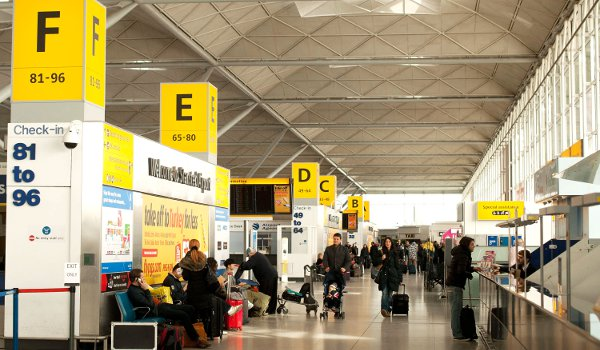 A general view of the arrival hall at Stansted Airport