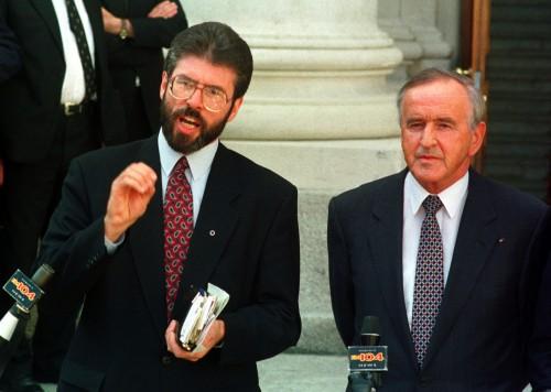 Sinn Fein President Gerry Adams with former Taoiseach Albert Reynolds on the steps of Government buildings in Dublin after their historic meeting  on April 6th, 1994. (Photo: Eamonn Farrell/Photocall Ireland)