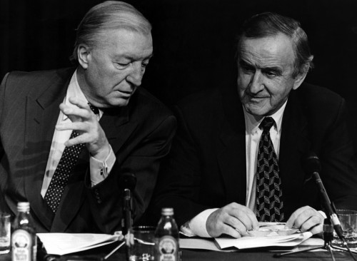 Taoiseach and Fianna Fail leader Charles Haughey with Minister Albert Reynolds during a Fianna Fail Progressice Democrats press conference. 18/10/1991 Pic Photocall Ireland