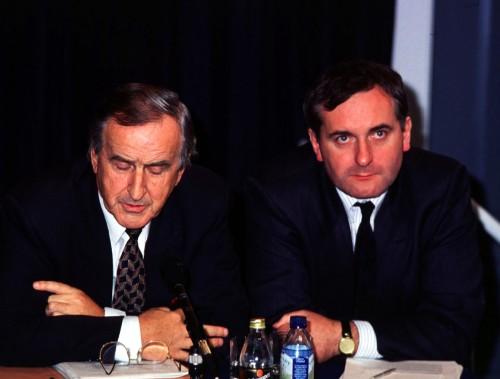 FIANNA FAIL TD'S ALBERT REYNOLDS(L) AND BERTIE AHERN. 18/10/1991 PIC PHOTOCALL IRELAND