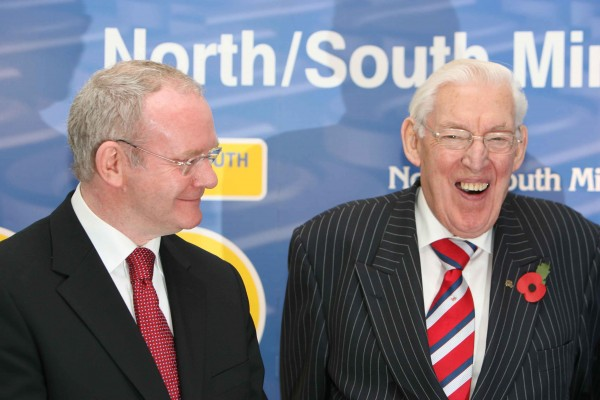 Dr. Ian Paisley, First Minister, and Martin McGuinness, Deputy First Minister launched the Cross Border Mobility Website at the Ballymascanlon Hotel, Dundalk, in 2007, prior to the second meeting of the North/South Ministerial Council (NSMC) in Institutional Format. (Photo: Photocall Ireland)