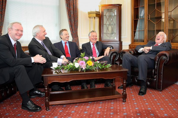 (From left to right) Deputy First Minister Martin McGuinness, Irish Taoiseach Bertie Ahern, British Prime Minister Tony Blair, Northern Ireland Secretary Peter Hain and First Minister Ian Paisley in the First Minister's office at the Northern Ireland Assembly, Stormont, in 2007. The Rev Ian Paisley and Martin McGuinness were sworn in as First and Deputy First Ministers following a deal struck between the Democratic Unionists and Sinn Fein. (Photo: Photocall Ireland/ Paul Faith/Pool/PA Wire)