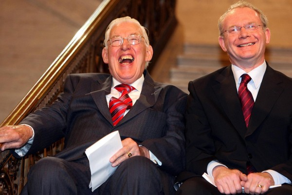 First Minister Ian Paisley and Deputy First Minister Martin McGuinness smile after being sworn in as ministers of the Northern Ireland Assembley, Stormont, in 2007. The Rev Ian Paisley and Martin McGuinness were sworn in as First and Deputy First Ministers following a deal struck between the Democratic Unionists and Sinn Fein. (Photo: Photocall Ireland/ Paul Faith/Pool/PA Wire)