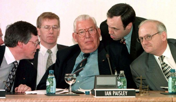 Ian Paisley and his DUP negotiating team pictured at the All Party Talks table at Castle Buildings, Stormont Belfast. (Photo: Photocall Ireland)