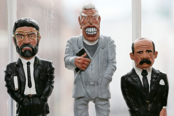 Northern Ireland Peace Process politicians caricature statuettes by Belfast artist Anto Brennan, featuring (from left) Gerry Adams, Ian Paisley and David Irvine, which is one of the items in the 'Whyte's 'History, Literature and Collectibles' auction in 2013. (Photo: Laura Hutton/Photocall Ireland)
