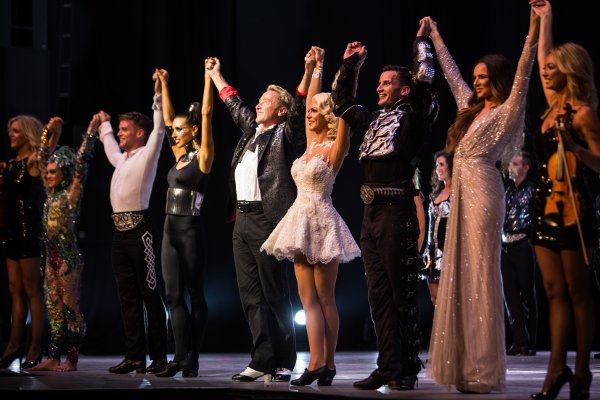 James Keegan (third from left) joins Michael Flatley (centre) and Nadine Coyle (second right) on stage at the London Palladium (Photo: Brian Doherty)