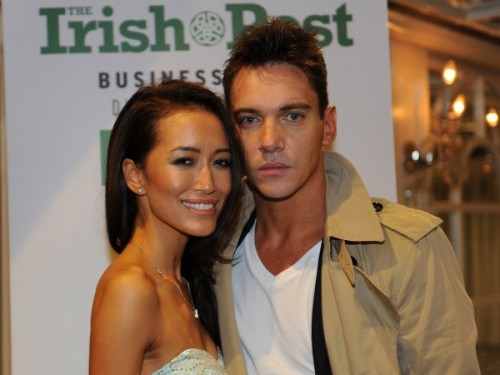 Legend Award-winner Jonathan at the Irish Post Awards last October with fiancée Mara Lane Picture by Malcolm McNally