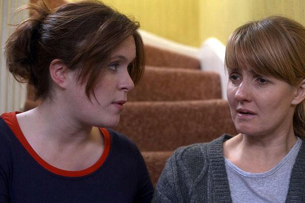 Jessica Regan and Katy Carmichael on the set of Doctors (Photo: BBC)