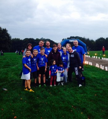 Betty and Mick Carry with family and friends at The Christie charity walk September 2014-n