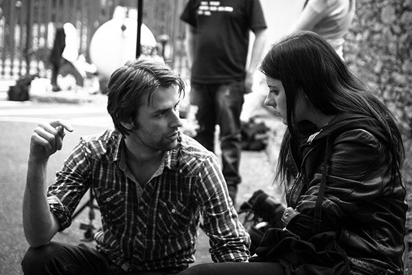 Emma Eliza Regan on set with Patrick Ryan while filming Darkness On The Edge Of Town