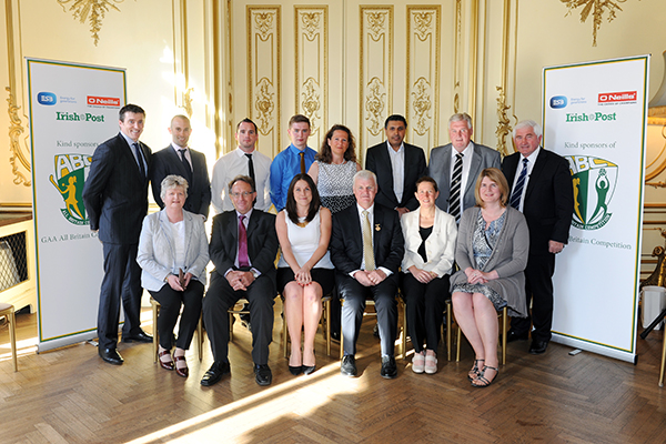GAA President Aogan O'Fearghail and Barbara Cullinane from the Irish Embassy are picture with organisers and sponsors of the 2015 GAA All Britain Competition.