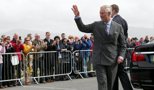 Prince Charles received  a hearty welcome as he visited Mullaghmore - the town where his great-uncle was killed by the IRA in 1979