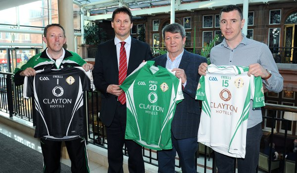 (l-r) London football manager Paul Coggins with Dalata Hotel Group's Stephen McNally, London County Board Chairman Noel O'Sullivan and London hurling Manager Fergus McMahon (Photo Mal McNally)