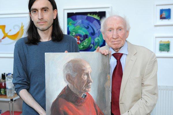 Eddie Linden with artist London Irish artist Luke Canavan.  One of Luke's paintings of Eddie was presented to him at his birthday