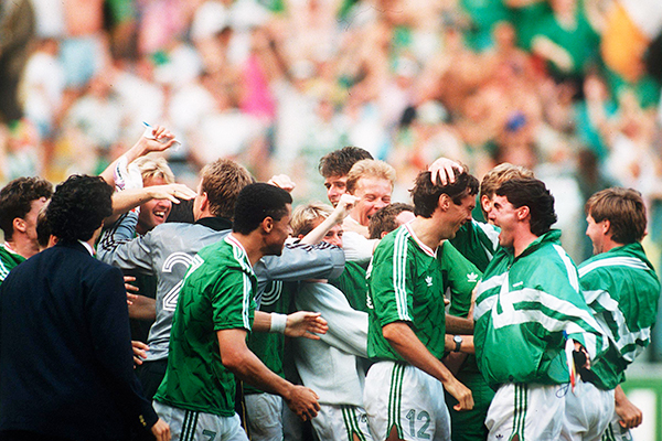 The team celebrate after securing a place in the quarter-finals
