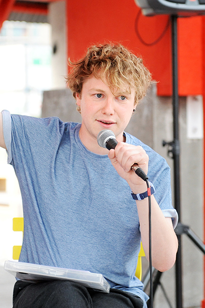 Host for the evening was Irish broadcaster Dylan Haskins. Photo - Malcolm McNally