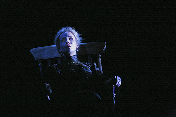 Dwan as an old woman in the Beckett's eerie short play Rockaby