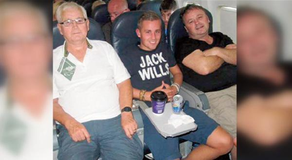 This picture shows Patrick, Joel and Adrian on the plane to Tunisia. Picture: Twitter/@bbchw