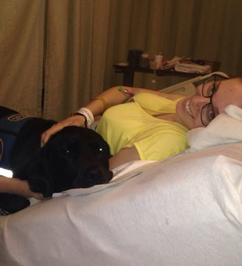 Clodagh recovering in bed with a black labrador. Picture: Facebook