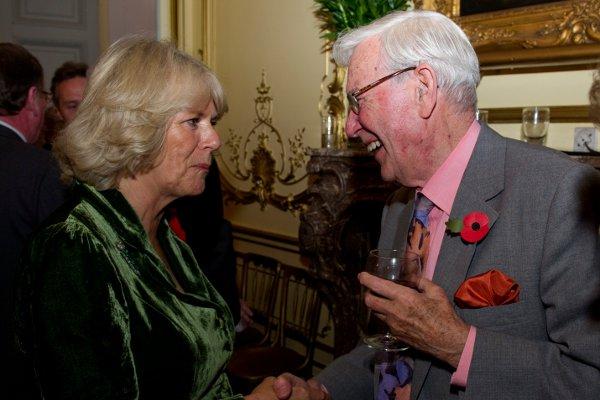 Val meets Camilla, Duchess of Cornwall at the Irish Embassy in 2010